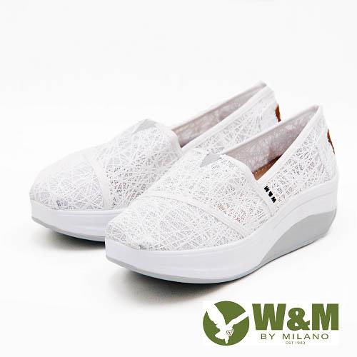 W&M BOUNCE系列 超彈力復古雲絲增高鞋 女鞋-白(另有黑)