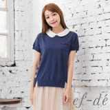 【ef-de】GO春夏 蕾絲領背橫紋短袖針織衫(深藍)
