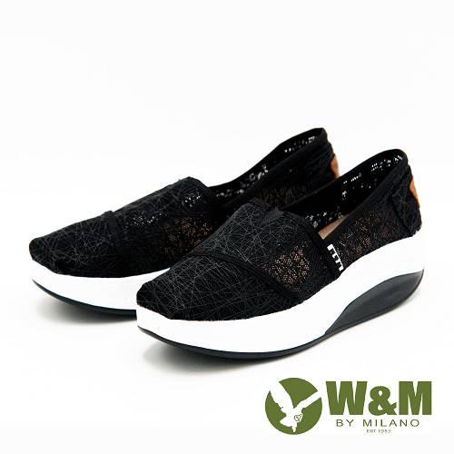 W&M BOUNCE系列 超彈力復古雲絲增高鞋 女鞋-黑(另有白)