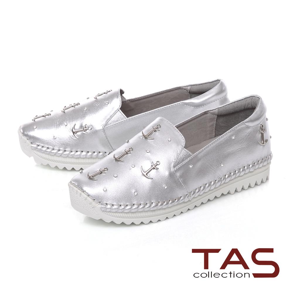 TAS 海軍風金屬鉚釘休閒鞋-閃耀銀