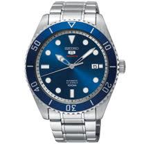 【SEIKO 精工】5號 經典罐頭機械錶-藍x銀/4R35-02D0B(SRPB89J1)