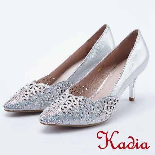 kadia.華麗響宴 雕花水鑽羊皮高跟鞋 8001~81銀色