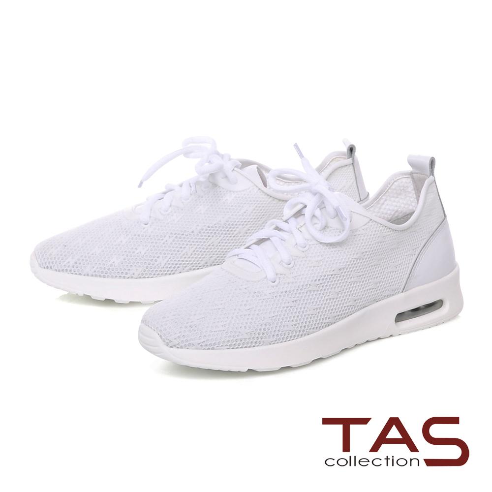 TAS 滿版閃電透氣牛皮運動休閒鞋-時尚白