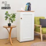 Birdie南亞塑鋼-1.6尺單門百葉塑鋼收納置物櫃/隙縫櫃/鞋櫃(白色+木紋色)