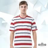 歐洲貴族oillio 短袖T恤 寬細條紋 休閒口袋 白色