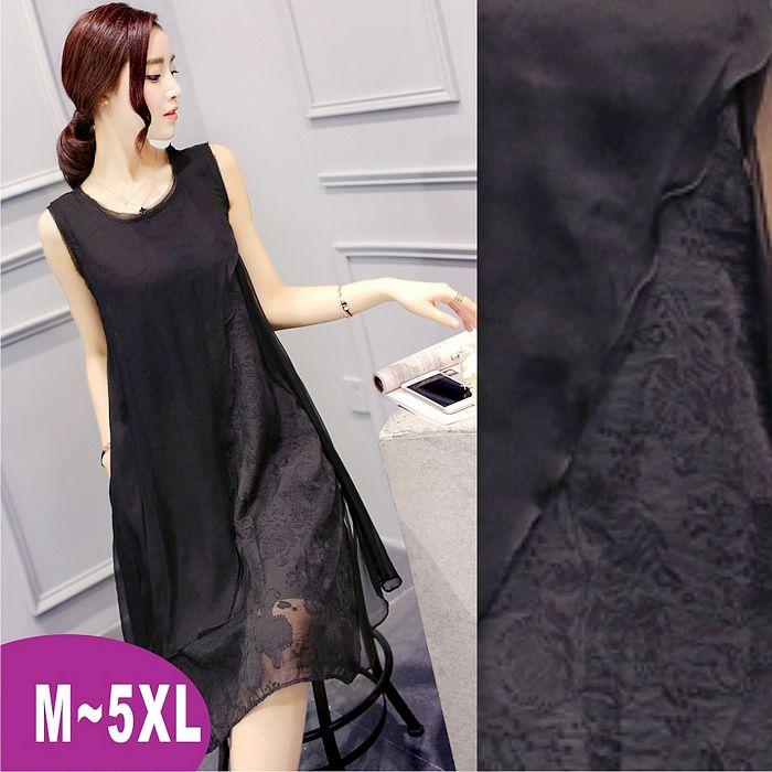 ❤現貨-漫妮女裝❤3XL背心式層次感小禮服洋裝性感黑色款