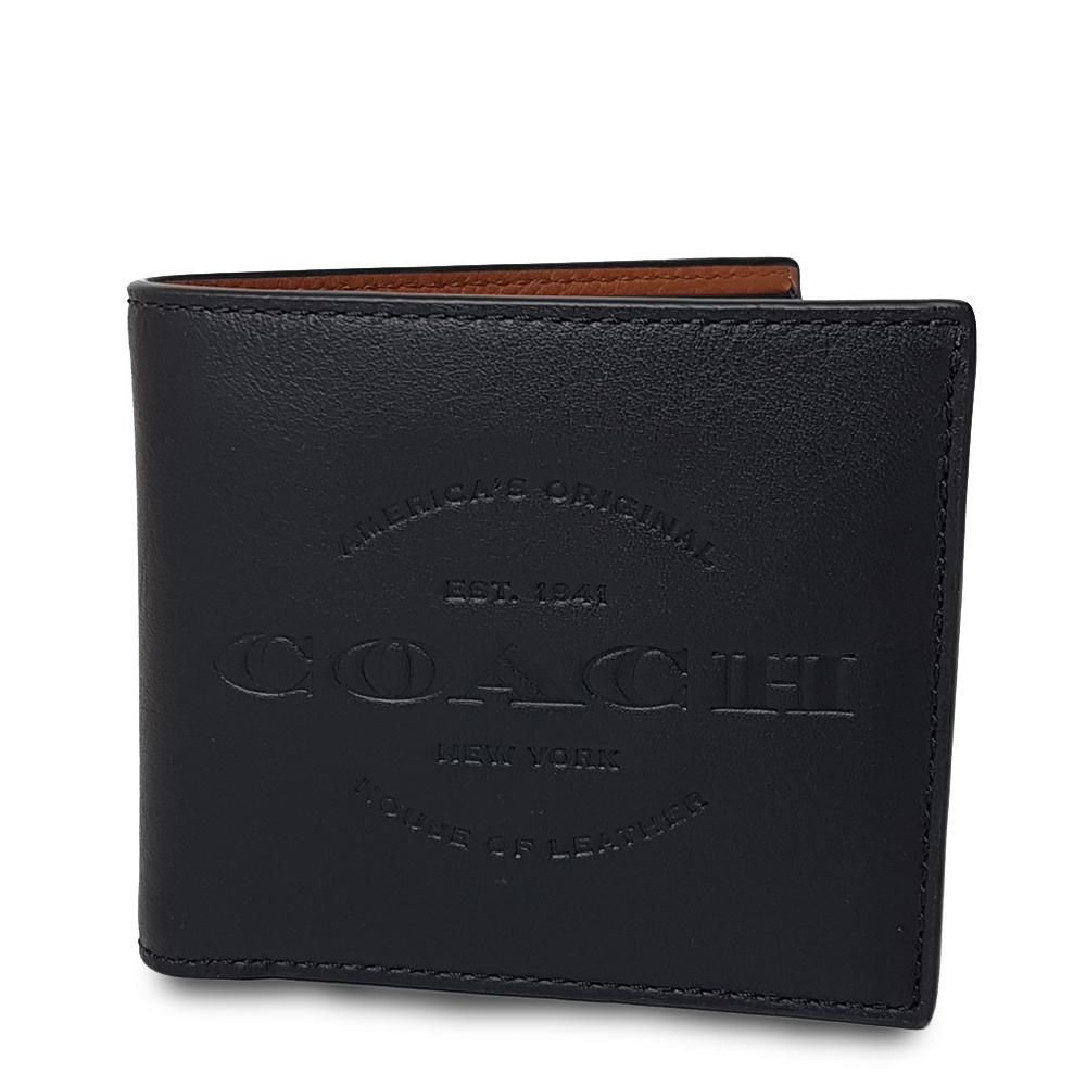 COACH 男款牛皮素面LOGO壓紋八卡短夾-黑色