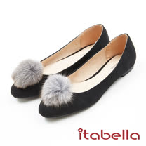 itabella.絨面毛球素色平底鞋(7558-95黑色)