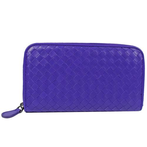 BOTTEGA VENETA 經典手工編織小羊皮拉鍊長夾.紫