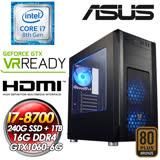 華碩Z370平台【起義時刻】 INTEL I7-8700六核心 240G SSD + 1TB 16G DDR4 GTX1060 6G 550W 80+銅POW 全新八代I7解放六核電競獨顯狂潮主機