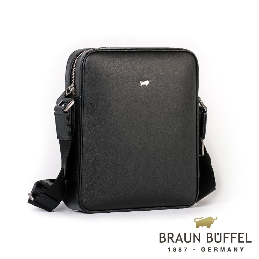 【BRAUN BUFFEL】德國小金牛-HOMME-M系列紳士斜背包(黯黑)BF306-52-BK