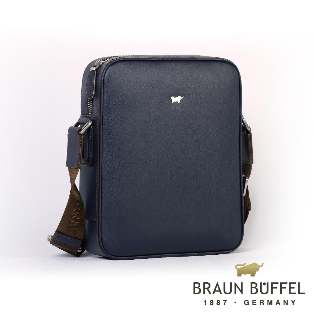 【BRAUN BUFFEL】德國小金牛-HOMME-M系列紳士斜背包(深藍)BF306-52-MAR
