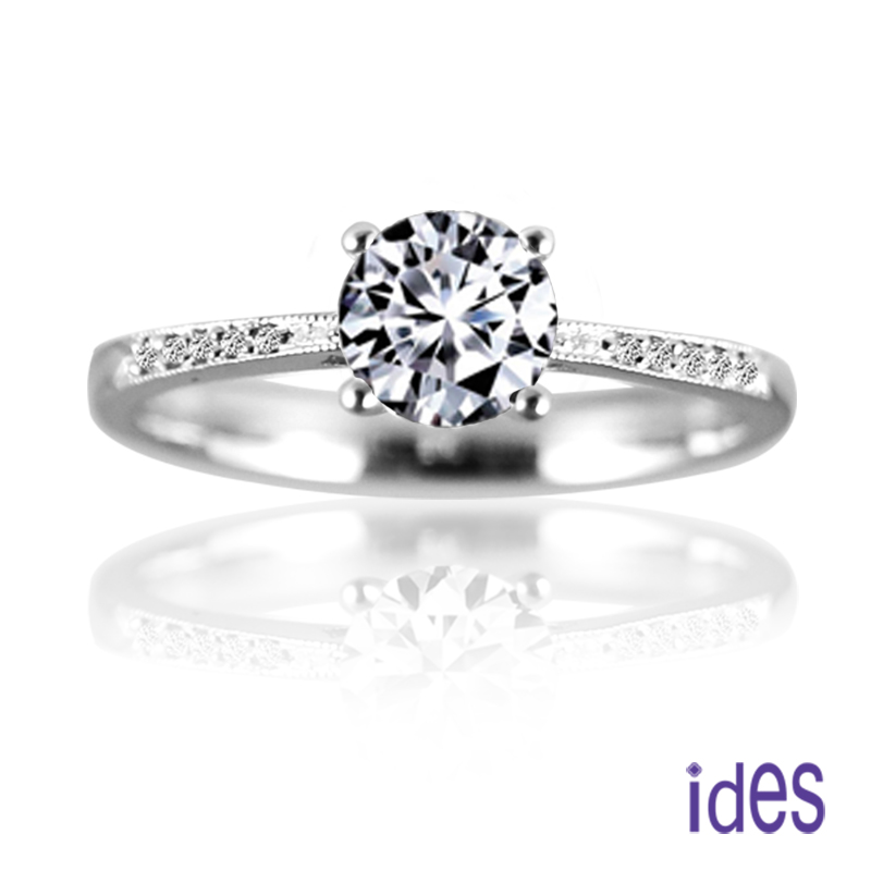 ides愛蒂思 精選30分E/VVS1八心八箭完美車工鑽石戒指/求婚結婚戒