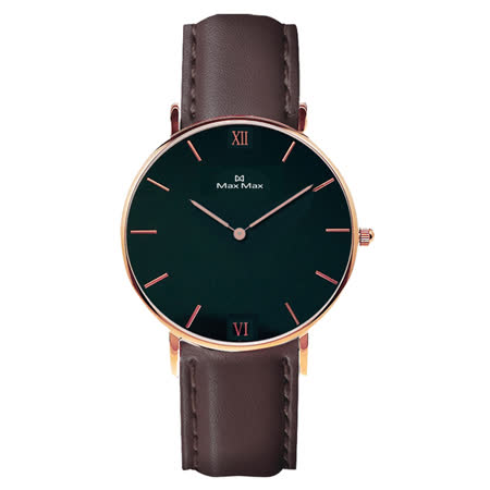 【Max Max】Max Max MAS7025-2 時尚簡約皮帶腕錶-黑色 36mm(MAS7025-2)