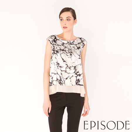 EPISODE - 典雅蠶絲大理石紋設計上衣