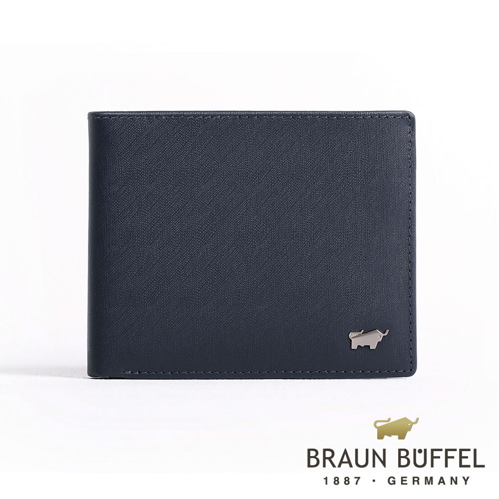 【BRAUN BUFFEL】德國小金牛 HOMME-M系列5卡窗格皮夾(深藍)BF306-316-MAR