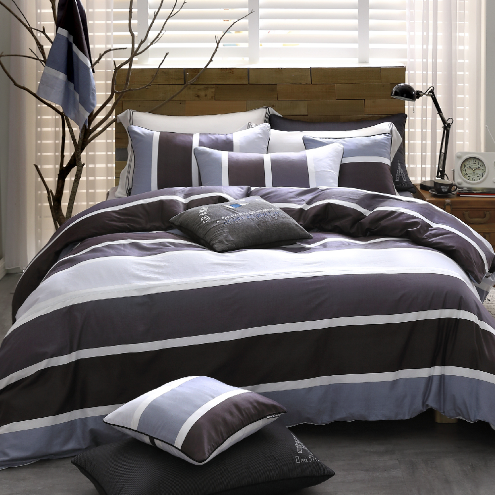 OLIVIA 《 丹尼爾 灰黑 》特大雙人床包被套四件組 都會簡約系列