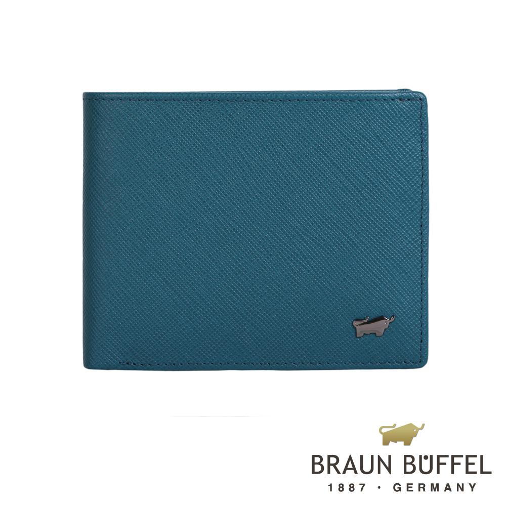 【BRAUN BUFFEL】德國小金牛洛非諾-C系列4卡零錢袋皮夾(蔚藍)BF307-315-AZU