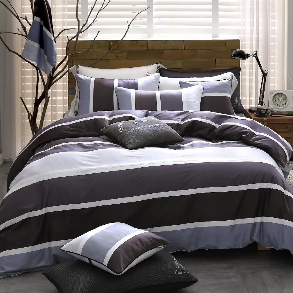 OLIVIA 《 丹尼爾 灰黑 》特大雙人兩用被套床包四件組 都會簡約系列