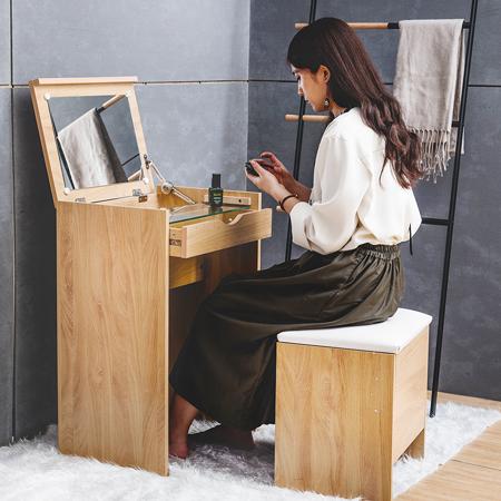 掀蓋式化妝鏡組 贈化妝椅(2色)