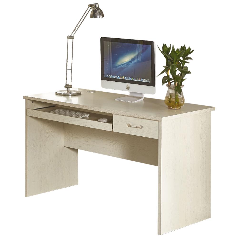 免組裝 時尚4尺白木紋收納書桌