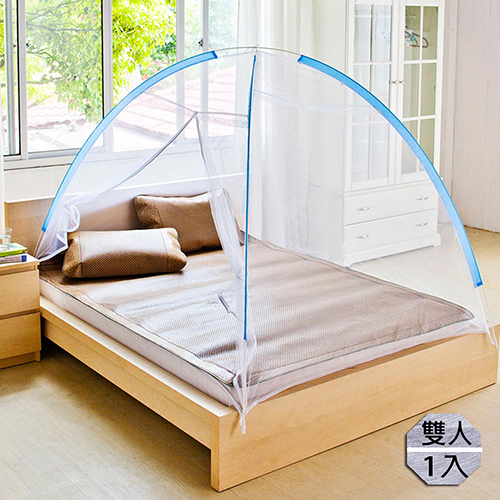 【KOTAS】蒙古包蚊帳自動彈開免安裝秒開秒收防蚊/蚊帳-雙人-藍x1