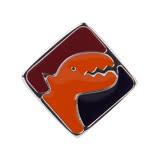 agnes b. - 方塊恐龍穿式耳環/單隻(橘紅黑)