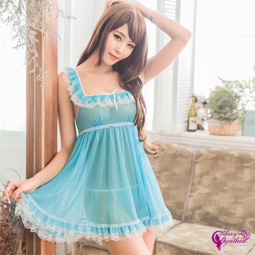 【Sexy Cynthia】性感睡衣 水藍柔紗荷葉裙襬二件式性感睡衣