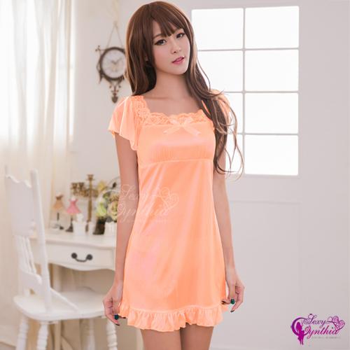 【Sexy Cynthia】性感睡衣 粉橘蕾絲小蓋袖柔緞睡衣