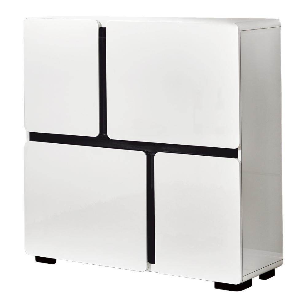 【AT HOME】現代簡約3.3尺亮面烤漆鞋櫃(100x35x100cm)