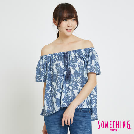 SOMETHING  休閒芭蕉葉平口T恤