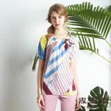 【麥雪爾】絲棉鑽飾小鳥繽紛條紋上衣