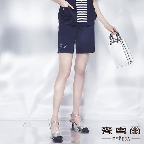 【麥雪爾】純棉鑽飾鐵塔織帶短褲-藍