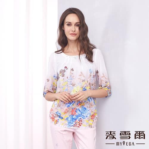 【麥雪爾】純棉亮珠鑽飾印花上衣