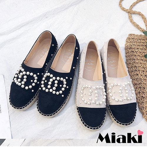 【Miaki】樂福鞋珠面拼接平底休閒包鞋 (白色 / 黑色)