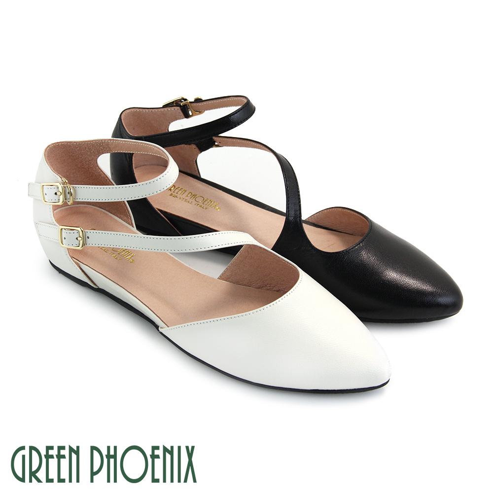 【GREEN PHOENIX】雙線條金屬扣全真皮繞踝平底尖頭鞋