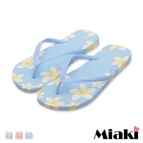 【Miaki】拖鞋繽粉夏日平底人字拖 (粉色 / 綠色 / 藍色)