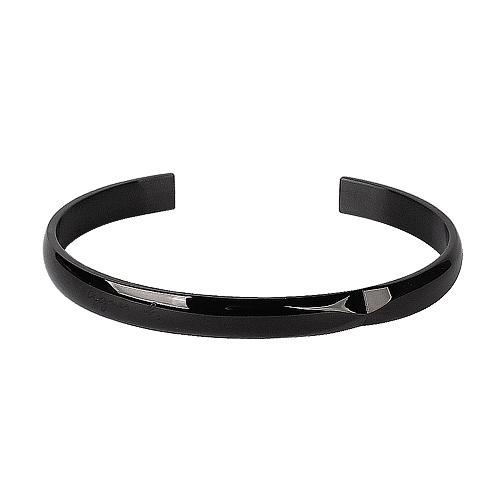 agnes b. - 草寫logo 切面造型男版手環(鍍槍色)