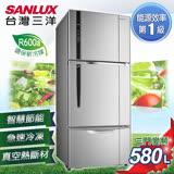 【SANLUX台灣三洋】580L三門直流變頻冰箱。銀色系/SR-C580CV1