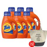 【美國汰漬Tide】2X超濃縮洗衣精1.47L(50oz)x6入組 加贈洗衣袋