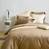 Cozy inn 簡單純色-咖啡-200織精梳棉四件式被套床包組(加大)