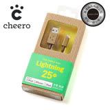 日本cheero阿愣lightning USB 蘋果充電傳輸線:25公分/MFi認證