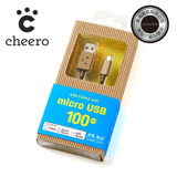 日本cheero阿愣micro USB 充電傳輸線:100公分