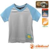 【荒野 WildLand】中童 椰炭印花排汗衣.圓領短袖T恤 /抗UV.抗菌.除臭.排汗/71672 灰色