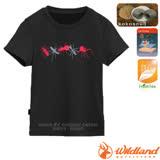 【荒野 WildLand】中童椰炭印花排汗衣.圓領短袖T恤 /抗UV.抗菌.除臭.排汗/71670 黑色