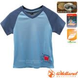 【荒野 WildLand】中童椰炭印花排汗衣.圓領短袖T恤 / 抗UV.抗菌.除臭.排汗/71672 水藍