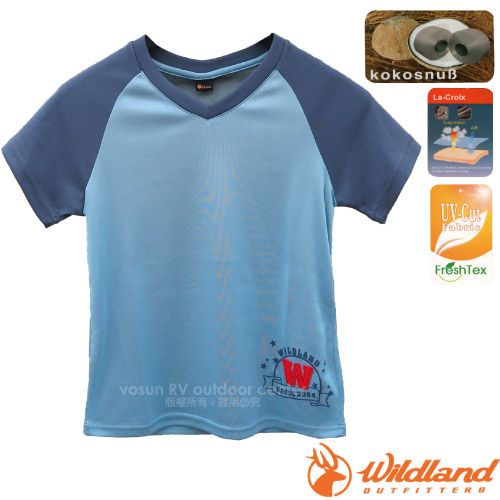 【荒野 WildLand】中童椰炭印花排汗衣.圓領短袖T恤
