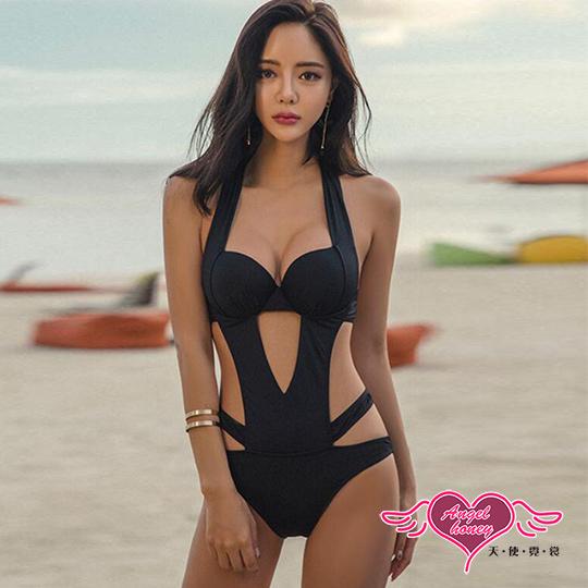 【天使霓裳】泳衣 流線魅力 素色鋼圈一件式連身泳裝(黑M~XL)