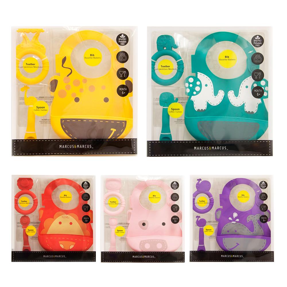 【MARCUS&MARCUS】動物樂園矽膠哺育禮盒組-多款任選