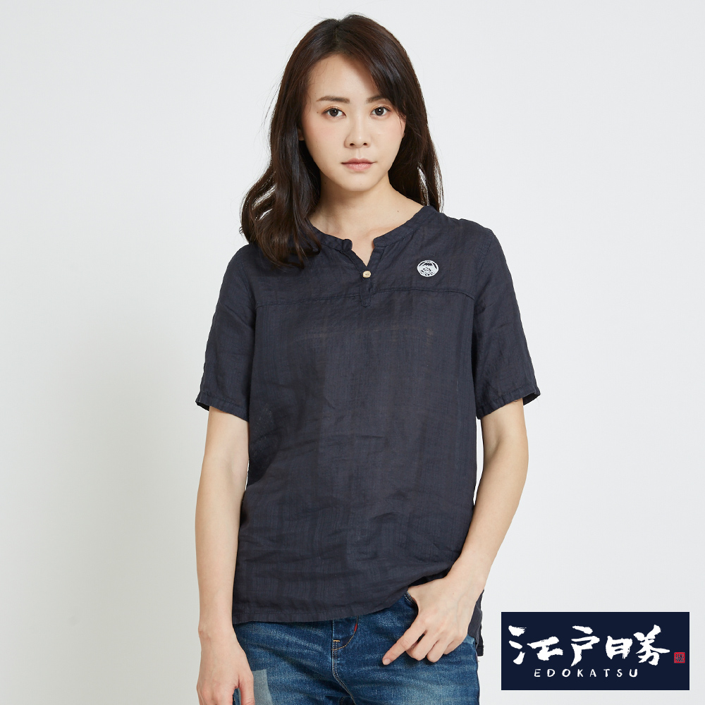 EDWIN 江戶勝 涼麻寬短袖襯T恤-女-丈青